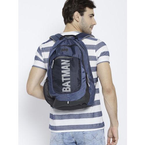 Kook N Keech Batman Unisex Navy Blue & Black Reflective Print Backpack