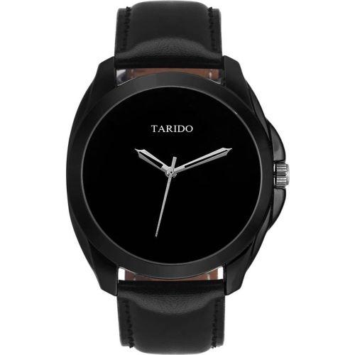 Tarido TD1609NL01 New Generation black dial black leather strap analog wrist Watch - For Men