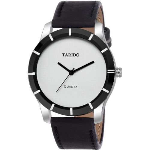 Tarido TD1618SL02 New Generation white dial black leather strap analog wrist Watch - For Men
