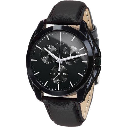 Tarido TD1600NL01 Signature black dial black leather strap analog wrist Watch - For Men