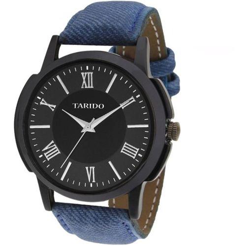 Tarido TD1501NL01 new generation black dial blue leather strap analog wrist Watch - For Men