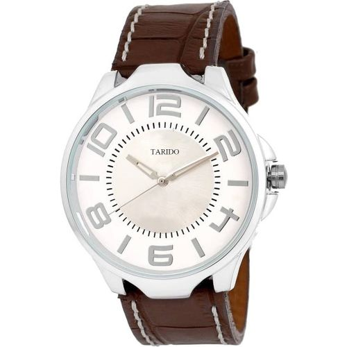 Tarido TD1588SL02 Fashion white dial brown leather strap analog wrist watch Watch - For Men
