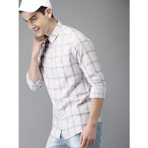 HERE&NOW White & Grey Regular Fit Checked Casual Shirt