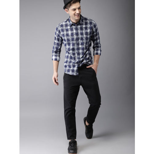 HERE&NOW Men Blue Regular Fit Checked Casual Shirt