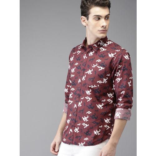 HERE&NOW Men Maroon Regular Fit Printed Casual Shirt