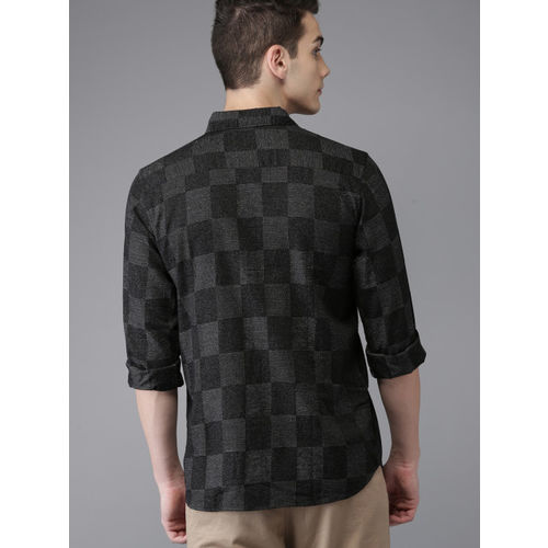 HERE&NOW Men Black & Charcoal Grey Regular Fit Checked Casual Shirt