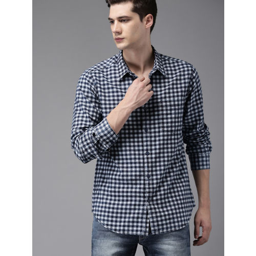 HERE&NOW Men Navy Blue Checked Casual Shirt