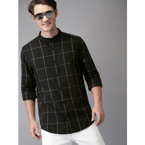 HERE&NOW Men Black & White Regular Fit Checked Casual Shirt