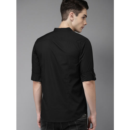 HERE&NOW Men Black Regular Fit Solid Casual Shirt