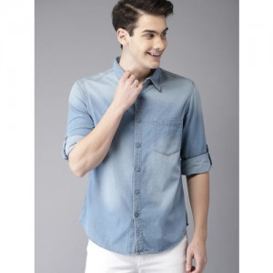 HERE&NOW Men Blue Regular Fit Faded Casual Chambray Shirt
