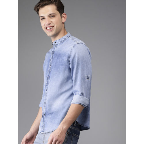 HERE&NOW Men Blue Regular Fit Faded Chambray Casual Shirt