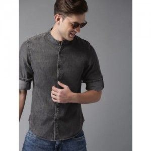 HERE&NOW Men Black Faded Denim Shirt