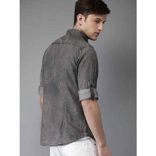 HERE&NOW Men Charcoal Grey Regular Fit Faded Chambray Casual Shirt