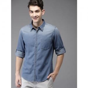 HERE&NOW Men Blue Regular Fit Faded Denim Casual Shirt