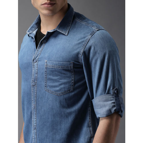 HERE&NOW Men Blue Regular Fit Faded Casual Shirt
