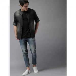 HERE&NOW Men Charcoal Grey Regular Fit Faded Casual Shirt