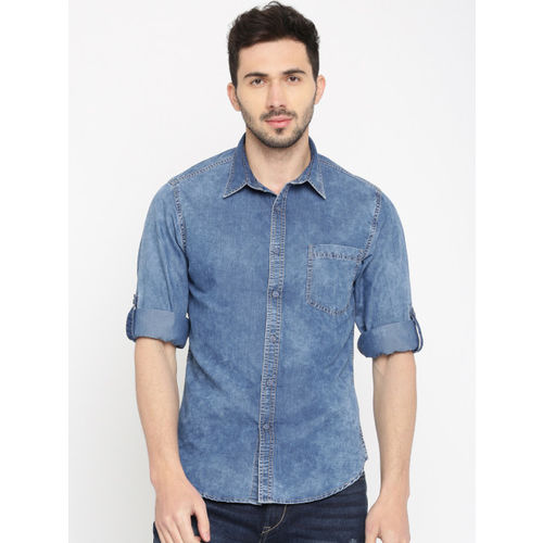 HERE&NOW Men Blue Regular Fit Faded Denim Casual Shirt