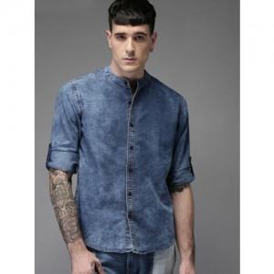 HERE&NOW Men Blue Regular Fit Solid Denim Casual Shirt