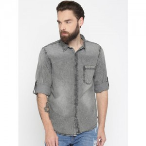HERE&NOW Men Grey Regular Fit Faded Casual Shirt