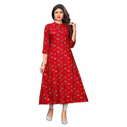 Vaikunth Fabrics Kurti In Red Color And Rayon Fabric For Womens VF-KU-250