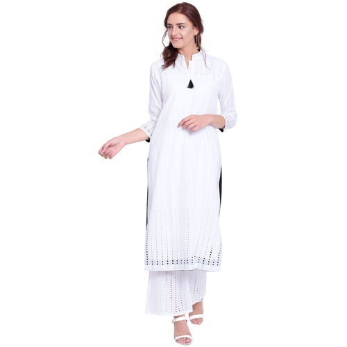 Pinky Pari Chikankari White Straight Fit Chinese Collar Kurta With Palazzo