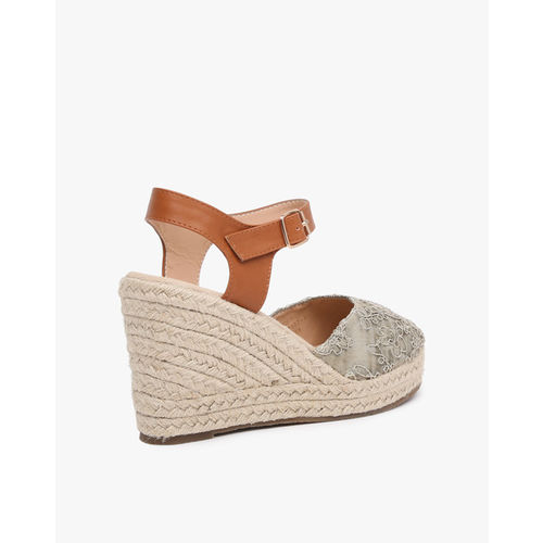 AJIO Embroidered Espadrille Wedges