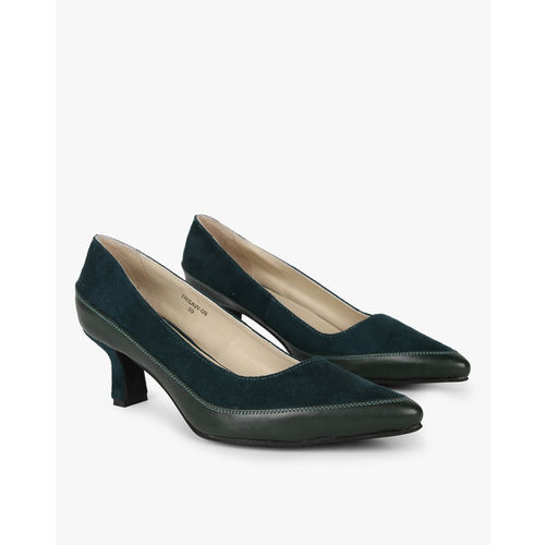 AJIO Pointed-Toe Dual-Toned Kitten Heels