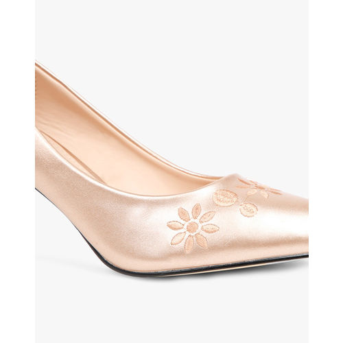 AJIO Pointy-Toe Pumps with Floral Embroidery