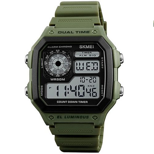 Skmei And Y GREEN Round And Square Dail Black And Green Silicone StrapMens Quartz Watch For Men