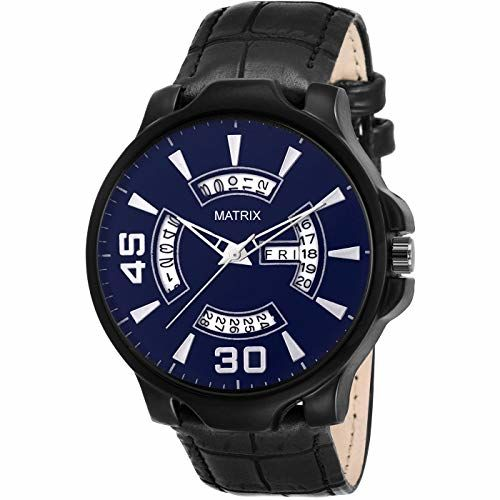 Matrix Silvermine Analog Blue Dial Wrist Watch Day and Date Display for Men & Boys- (DD-BL-LTH)