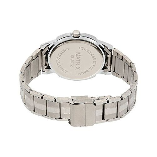Matrix Silvermine Analog White Dial Stainless Steel Wrist Watch for Men and Boys- (DD1-WH-ST)