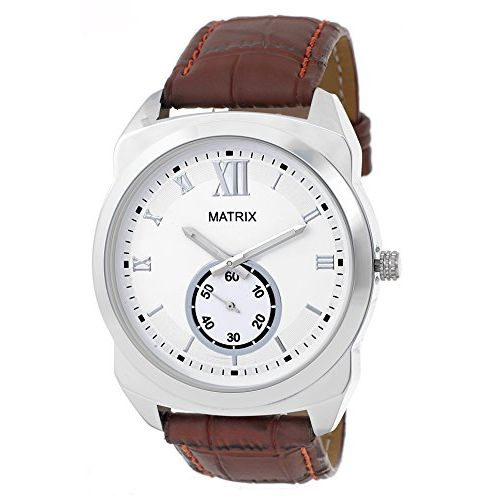 Matrix Analog White Dial Chronograph Men's Watch-DK-WH