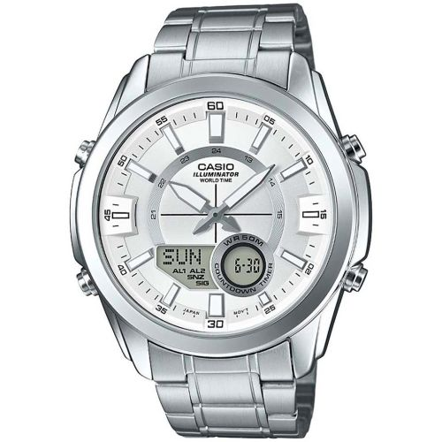 CASIO Silver Round Analogue and Digital Watch A1218