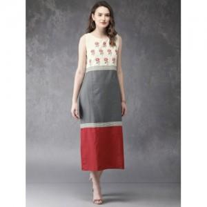 Anouk Red & Grey Colourblocked A-Line Kurta