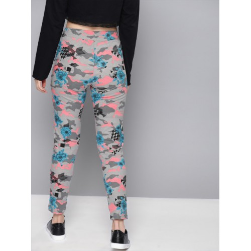 NUSH Women Grey & Pink Cotton Regular Fit Printed Cigarette Trousers