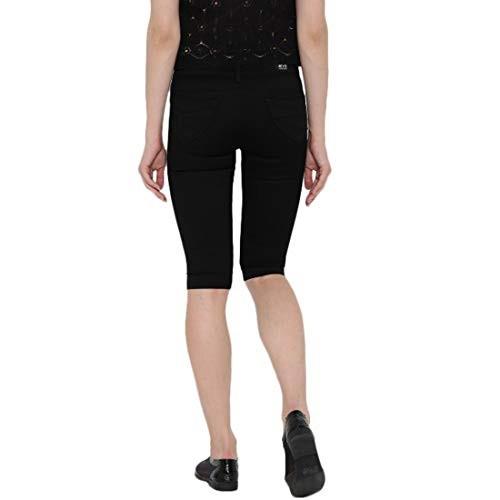 DEVIS Black Denim Skinny Fit Knee Length Capris