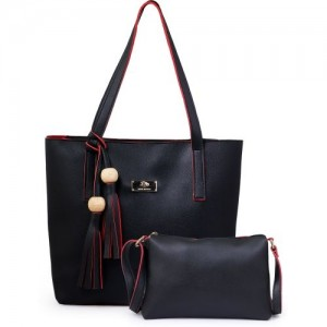 JFC Black Canvas Handbag and Shoulder Bag with Sling Bag Combo