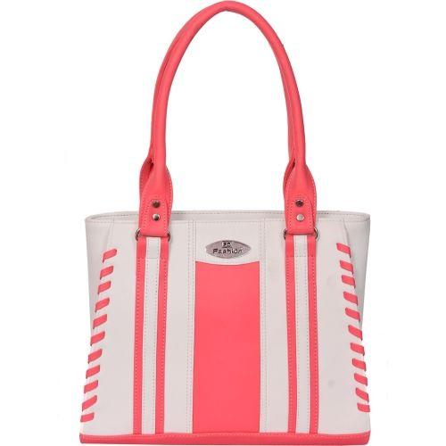 FD Fashion Pink & White Polyurethane Solid Shoulder Bag