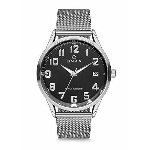 OMAX Analog Black Dial Mens Watch with Silver Index - VC07P26A