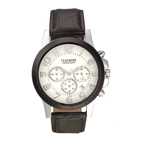 Teakwood Leathers Men White Analogue Watch