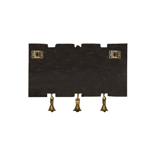 ExclusiveLane Brown & Gold Dhokra & Madhubani Handpainted Key Holder