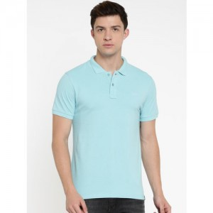 Lee Men Blue Solid Polo Collar T-shirt