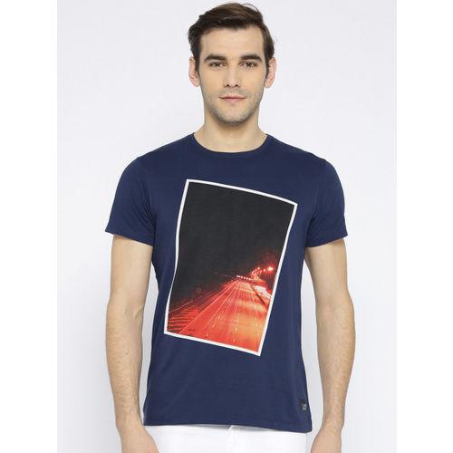 Lee Men Navy Blue Printed Round Neck T-shirt