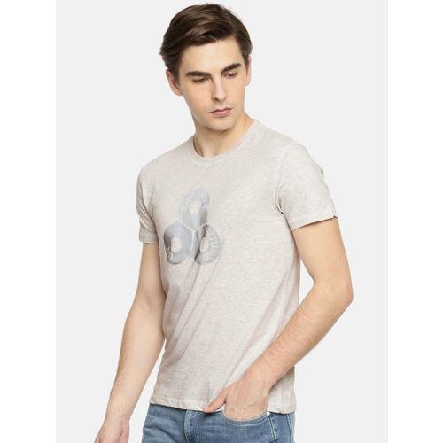 Lee Men Grey Melange Printed Round Neck T-shirt
