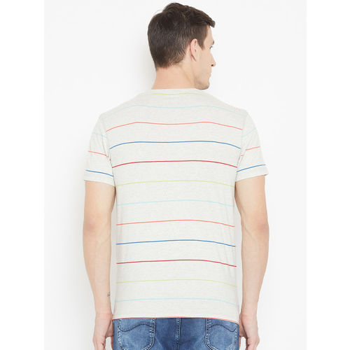 Lee Men Grey Melange Striped Round Neck T-shirt