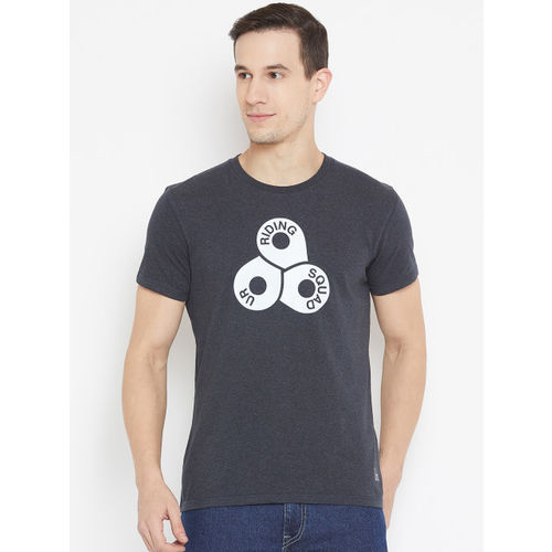 Lee Printed Men Round Neck Grey T-Shirt
