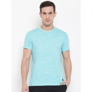 Lee Men Sea Green Printed Round Neck T-shirt