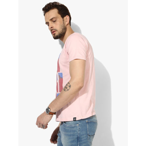 Lee Pink Printed Slim Fit Round Neck T-Shirt