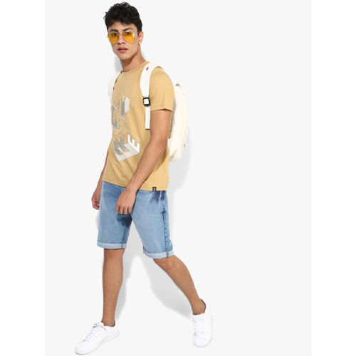 Lee Beige Printed Slim Fit Round Neck T-Shirt