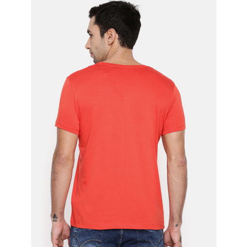 Lee Men Orange Printed Slim Fit Round Neck T-shirt